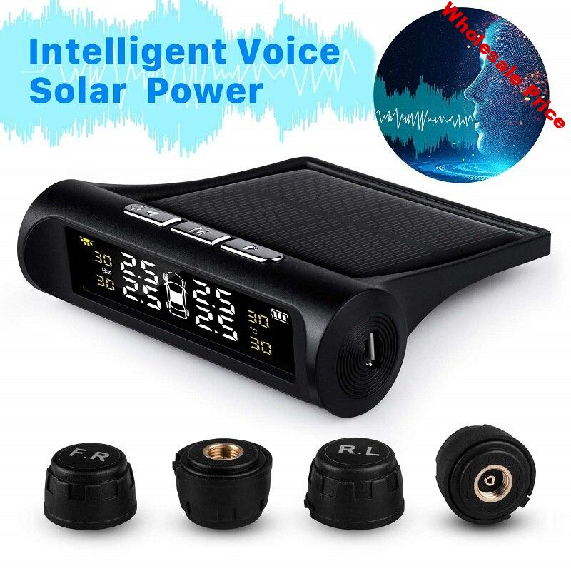 Geartronics Car TPMS Tyre Pressure Monitoring System Solar Power Digital LCD Display Auto Security Alarm Systems Tyre Pressure