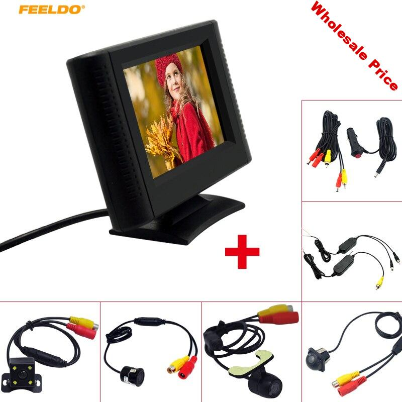 """FEELDO 2.5"""" LCD TFT Monitor With Rear View Parking Camera RCA Video System 2.4G Wireless & Cigarette Lighter Optional #AM4317"""