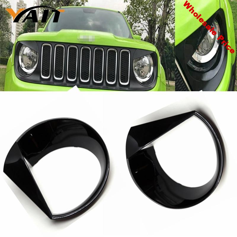 Yait Bezels Front Light Headlight Angry Bird Style ABS Trim Cover For 2015 - 2017 Jeep Renegade--2PCS