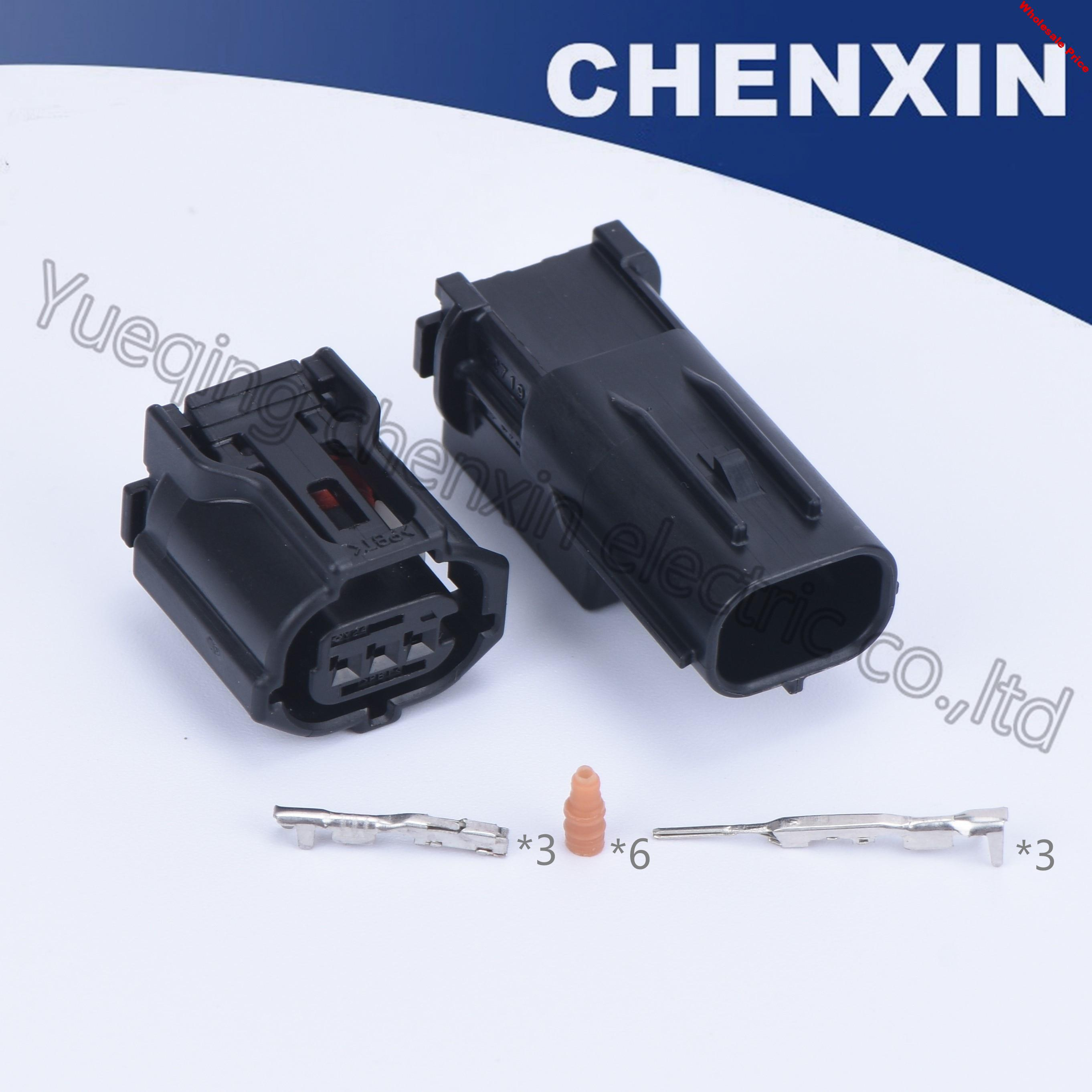Black 3pin waterproof auto connector female and male 0.6 air conditioning compressor harness headlight lamp camshaft sensor plug