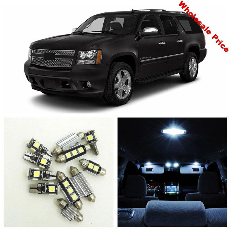 14pcs White LED Light Bulbs Interior Package Kit For 2007-2014 Chevy Chevrolet Suburban 1500 Dome License Plate Lamp Chevy-B-16
