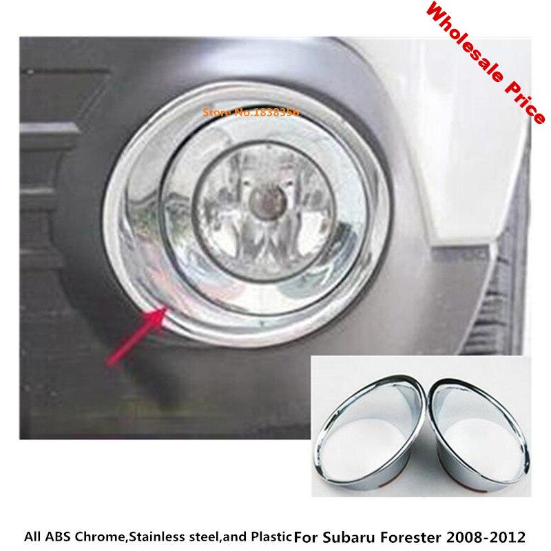 Car front fog light lamp frame stick styling ABS Chrome cover trim parts hoods moulding 2pcs For subaru Forester 2008 2009-2012
