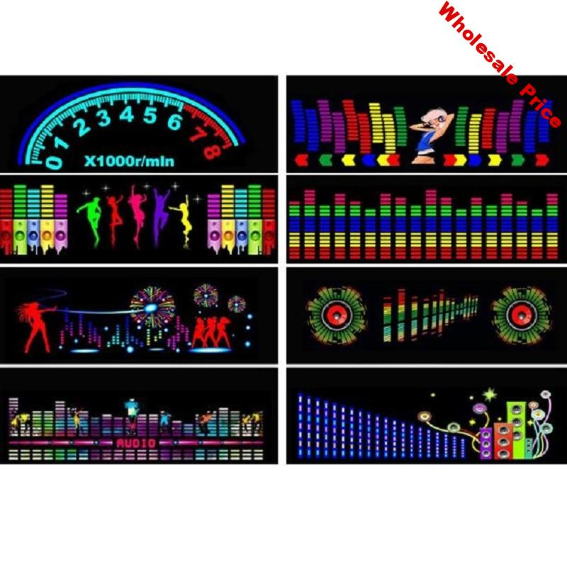 Car Auto Music Rhythm Changed Jumpy Sticker LED Flash Light Lamp Activated Equalizer EL Sheet Rear Window Styling Cool Sticker