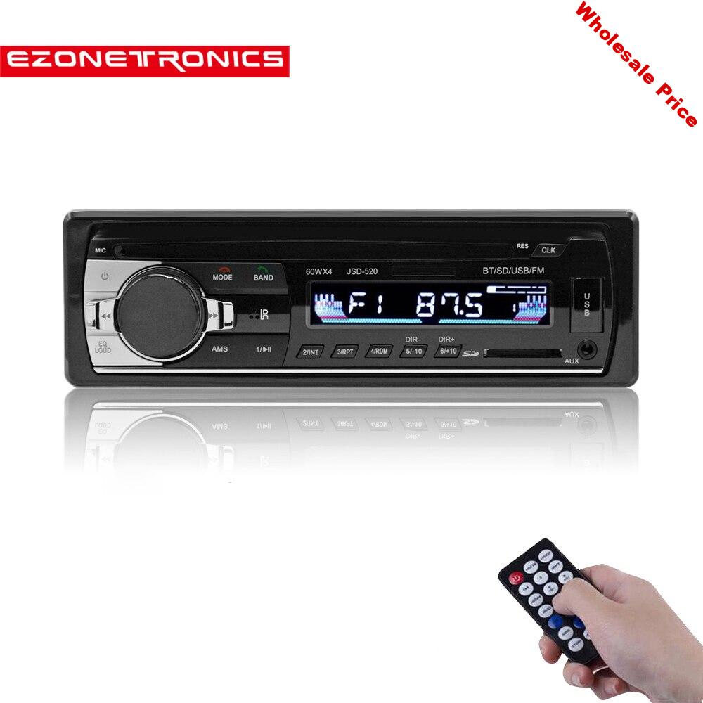 Free shipping Car FM and MP3 MP4  Bluetooth Stereo Radio Receiver Aux with USB Port and SD Card music Universal  player JSD520