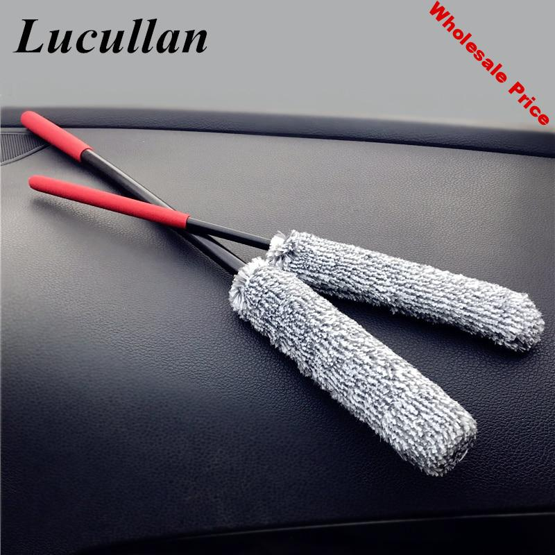 Lucullan 2 Pack Microfiber PP Mix Premium Wheel Brush 38/49CM Car Rim Brushes With Strong Cleaning Performance