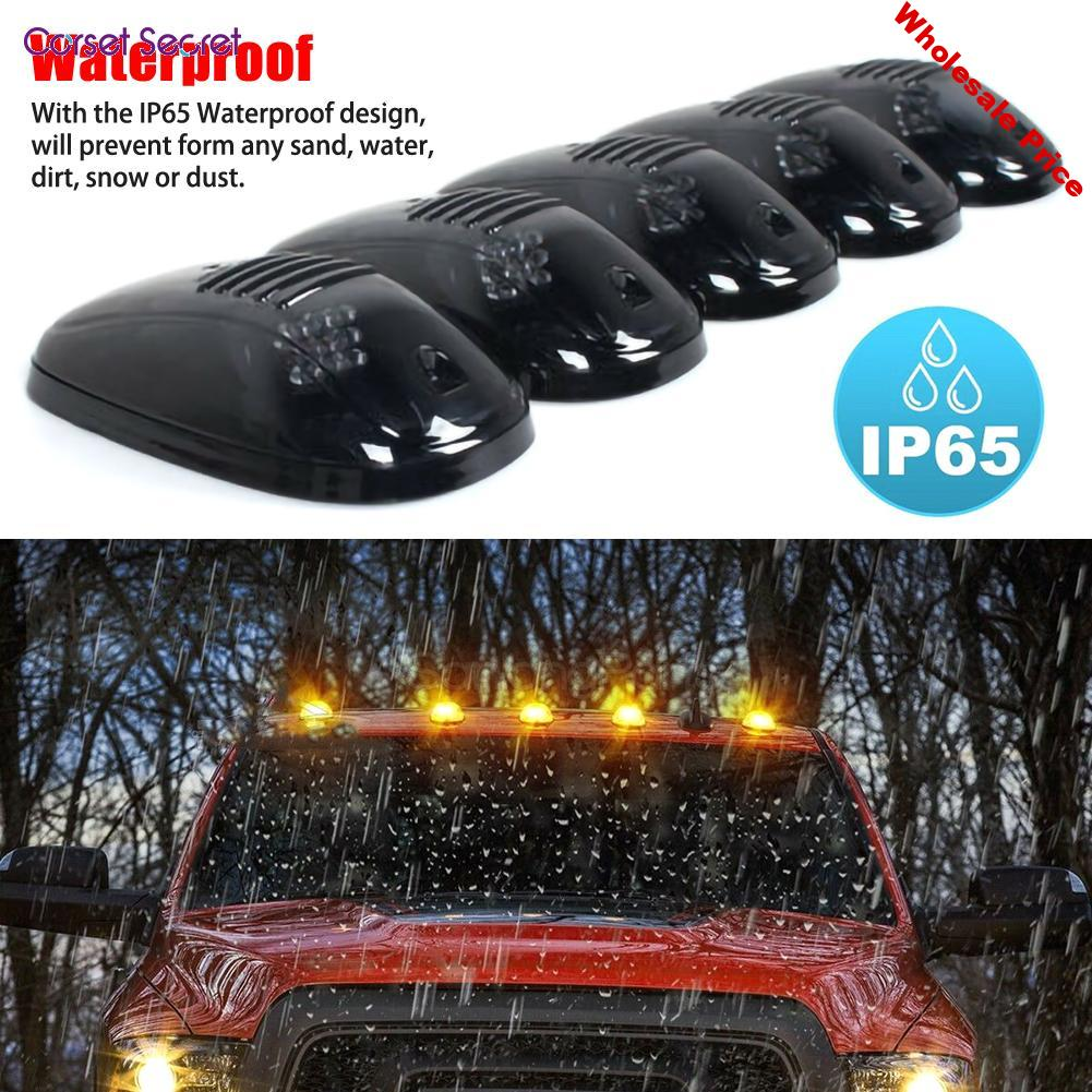 5 Pcs/Set 12LED Smoked Cab Roof Marker Light Running Clearance Warm Light Amber For Dodge Ram 1500 2500 3500 4500 5500 2003-2016