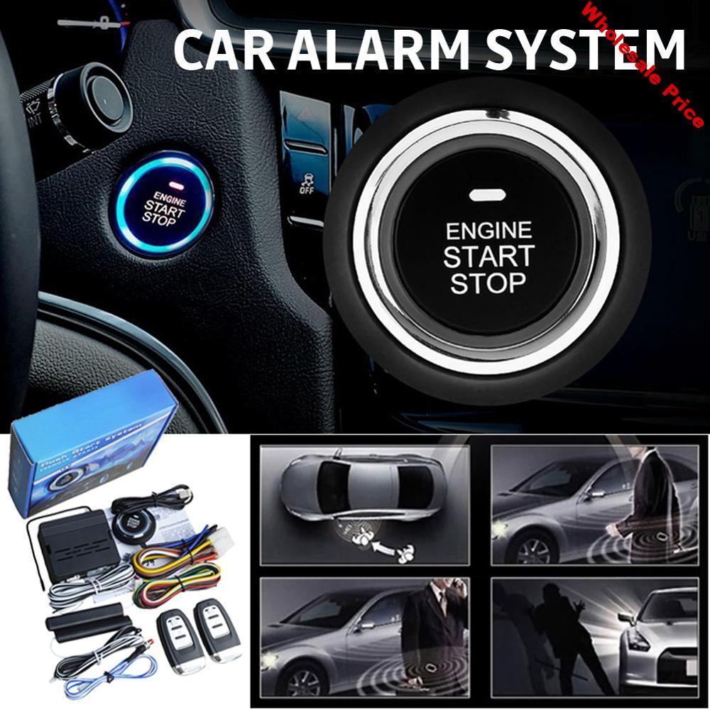 12V Universal Car Start Stop Button Engine Push Start Button Alarm Vehicle Entry System With Remote Controller drop shipping CSV