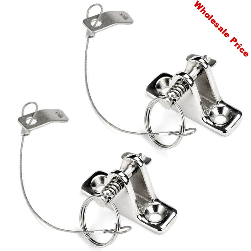 2Pcs Boat Bimini Top Deck Hinge with Quick Release Pins with Screws Marine Hardware Stainless Steel