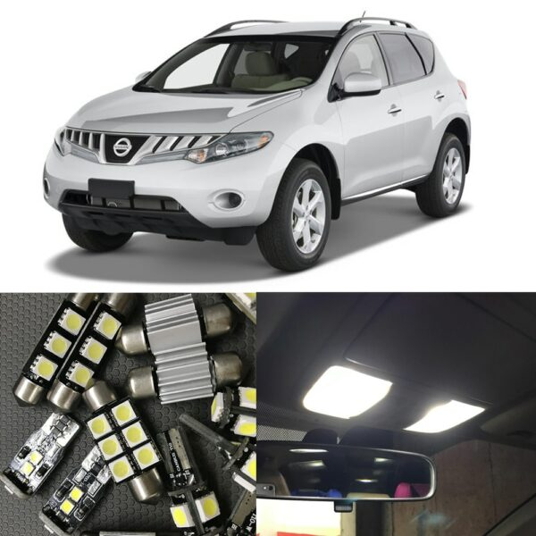 14pcs White Canbus LED Light Bulbs Interior Package Kit For Nissan Murano 2009-2015 Car Map Dome Trunk License Plate light Lamp