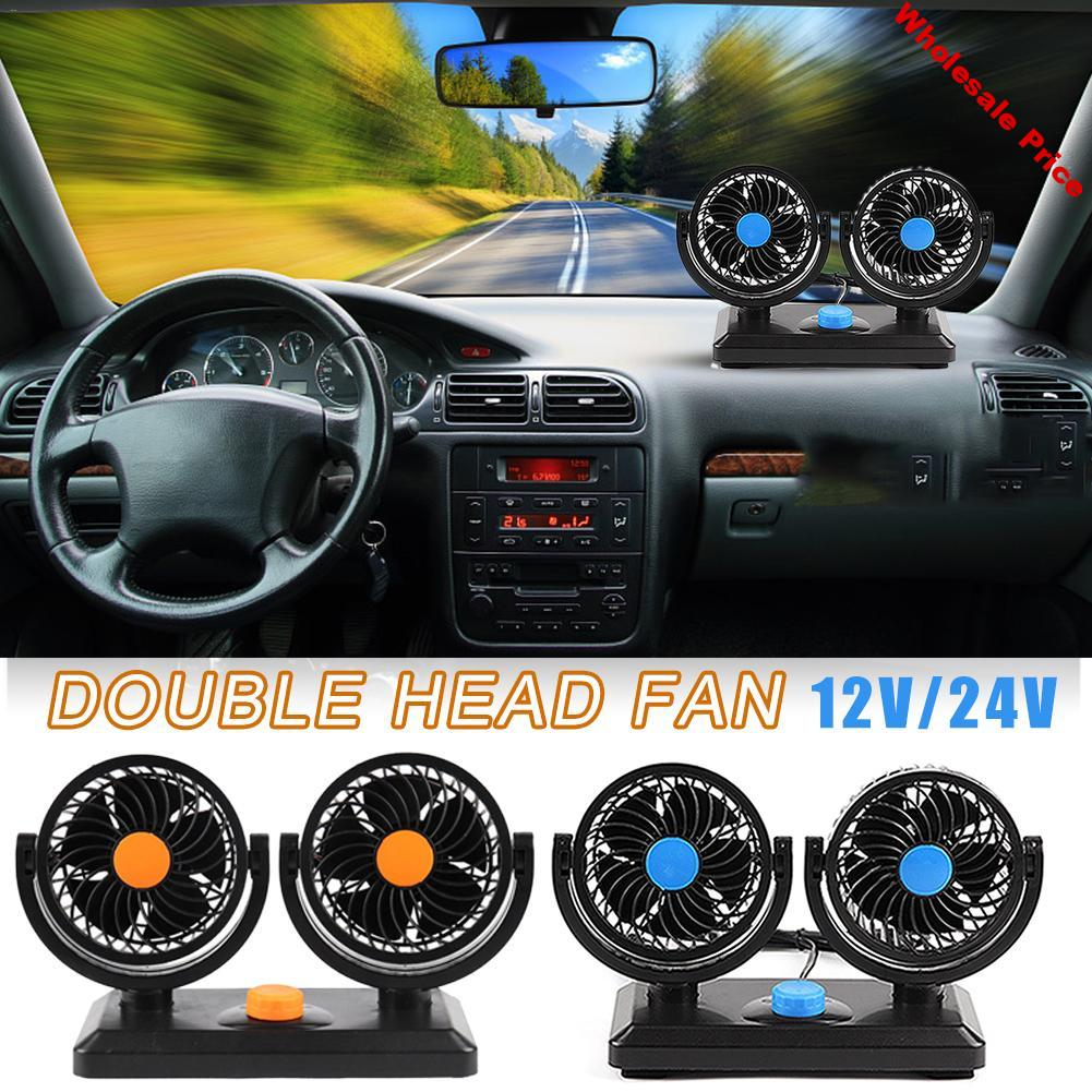 Professional Car Truck Fan 12V/24V Double Head Powerful Cooling Electric Powerful Wind Fan Rotatable Cigarette Lighter Plug
