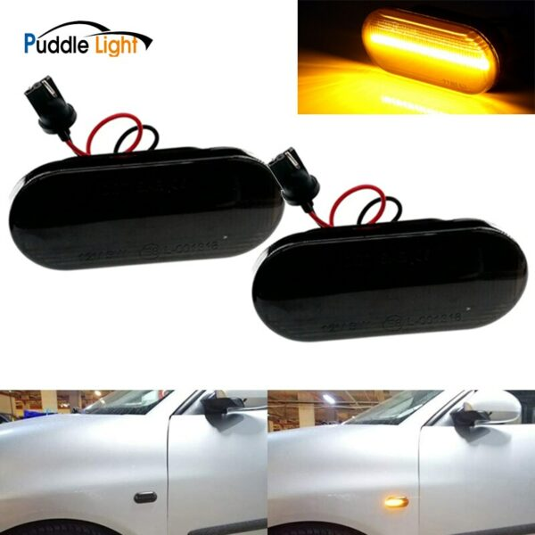 2pcs LED Dynamic Side Indicator Marker Signal Light Sequential Flashing Lamp For VW Polo 6N 6N2 Passat 3B Golf3 4 Polo 9N Sharan
