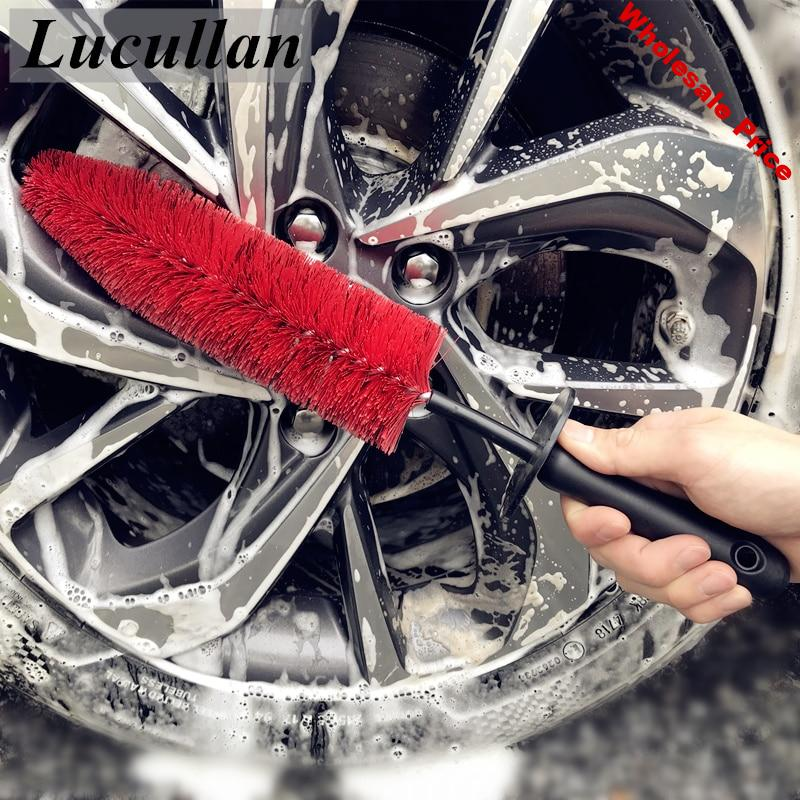 """Lucullan 17"""" Car Rim Wheel Spoke Engine Bay Brushes Flexible Soft Hair Cleaning Tools With Rubber Cap For Detailers"""