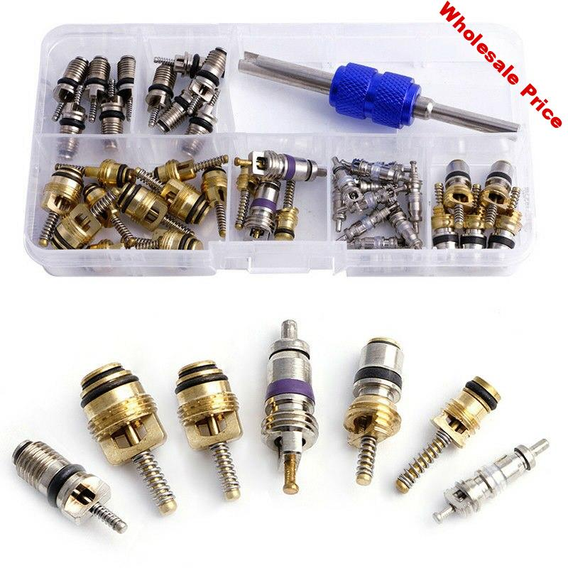 R12 Valve Cores R134A AC Schrader Copper 39pcs 75mm Oil resistant With Remover Air Conditioning