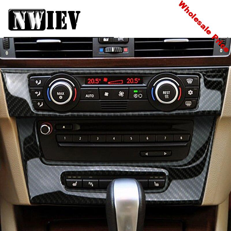 NWIEV Car Styling 3D Stickers For BMW E90 BMW 3 Series Center Console Air Condition Vent Outlet Carbon Fiber Covers Accessories