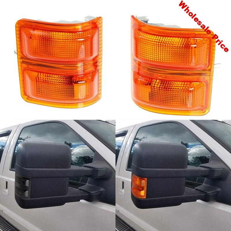 1 Pair Car Side Mirror Turn Signal Light Rear View Mirror Cover for Ford F-250 F-350 F-450 F-550 Super Duty 2008-2017