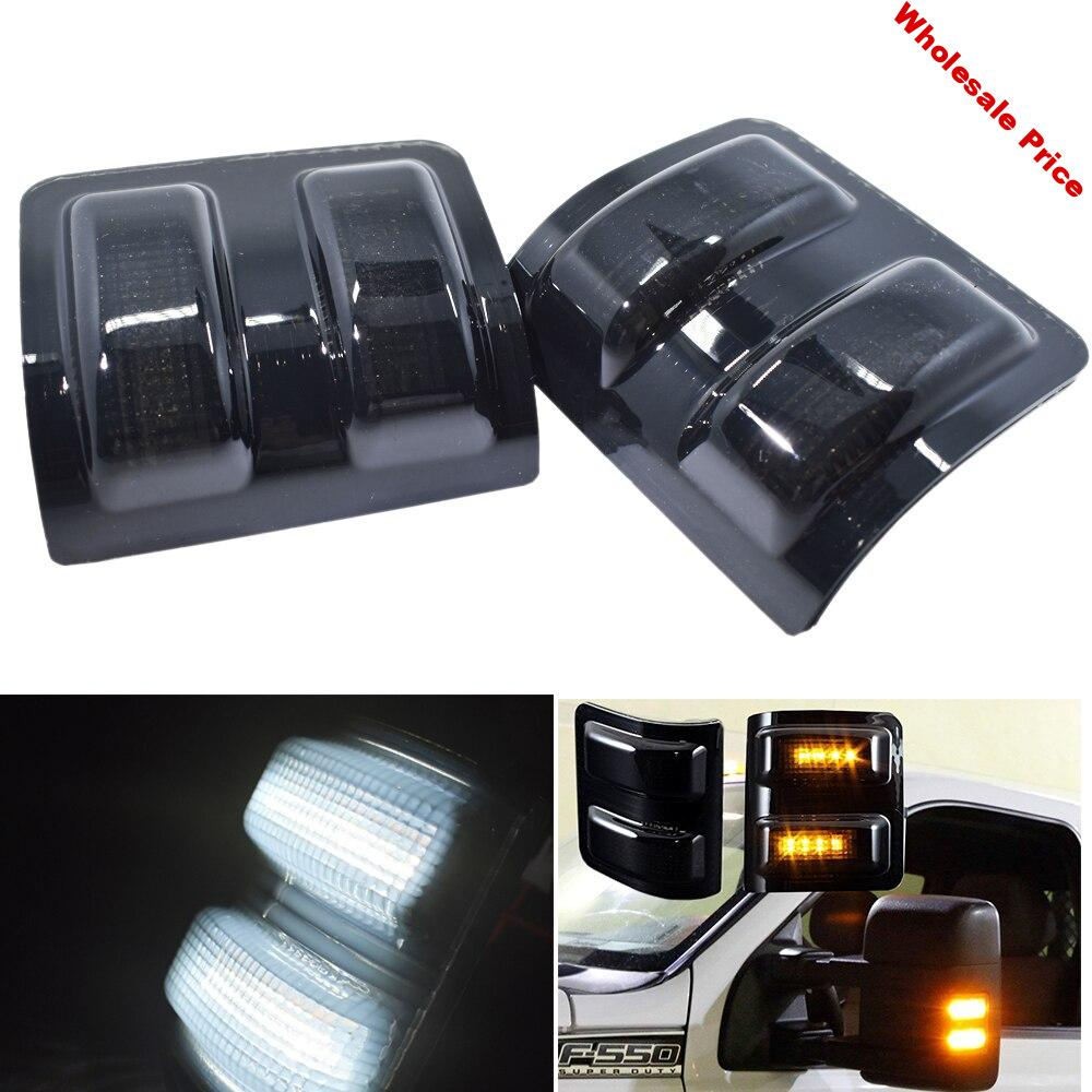 2pcs Amber LED For Ford F-250 F-350 F-450 F-550 Super duty Side Mirror Marker Running Signal Lights Smoked Lens