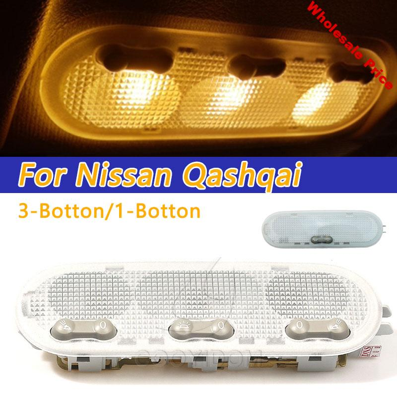 COOYIDOM 3-Botton Car Interior Dome Reading Light Ceiling Lamp For Nissan Qashqai Sunny Micra/march Renault Dacia