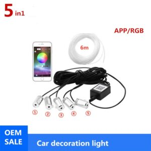 6M RGB Ambient Fiber Optic Atmosphere Lamps Car Interior Ambient Light Decorative Dashboard Door Remote Control or App Control