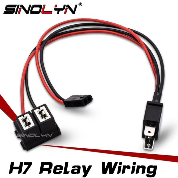 Sinolyn H7 Splitter Retrofit High Beam Projector Lens Headlight Lenses Cable Wire Harness For Car Lights Accessories Tuning 12V