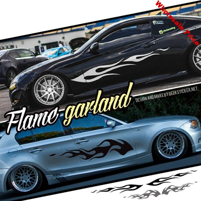 Noizzy Flame Waist Line Garland Fire Car Stickers and Decals Side Door Vinyl Sedans SUV Truck Vehicles Crossover Car-Styling