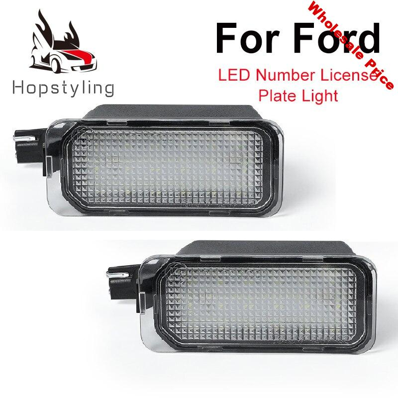 2Pcs LED License Number Plate Light Lamps For Ford Escape Ranger Kuga 1 2 C-MAX Focus 2 3 Ecosport Edge Fiesta 6 7 Mondeo 4 5