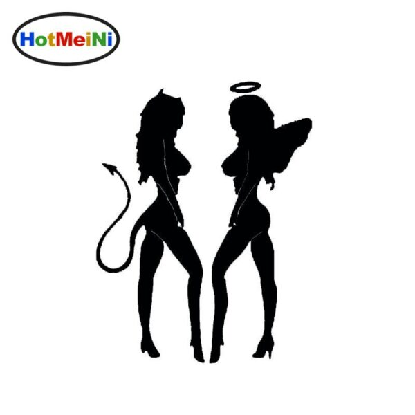 Wholesale HotMeiNi Angel Devil Sexy Girls Funny Car Sticker Styling for Bumper Laptop Kayak Decal Home Car Decor 15*11.5 cm