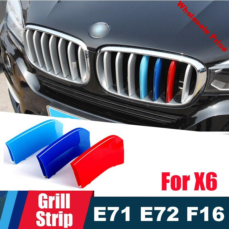 Perfect 3D M Performanc Front Grille Trim motorsport Strips for 2008 to 2018 BMW X6 E71 E72 F16 Grill Cover performance Stickers