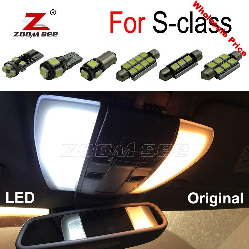 100% canbus White Error Free LED bulb Interior Dome Map Ceiling Light Kit For Mercedes Benz S class W140 W220 W221 (1994-2013)