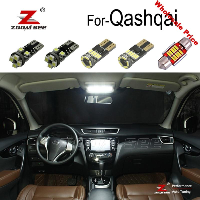 Perfect Canbus LED bulb Interior Reading map dome + License plate + vanity mirror light kit For 2007-2020 Nissan Qashqai J10 J11