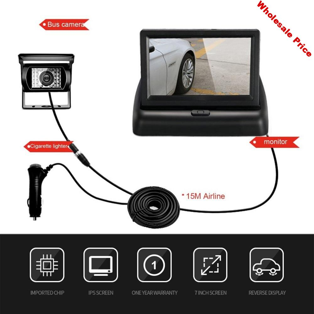 4.3 Inch  Foldable Car Rear View Monitor Reversing Lcd Tft Display With Night Vision Backup Rearview Camera For Vehicle