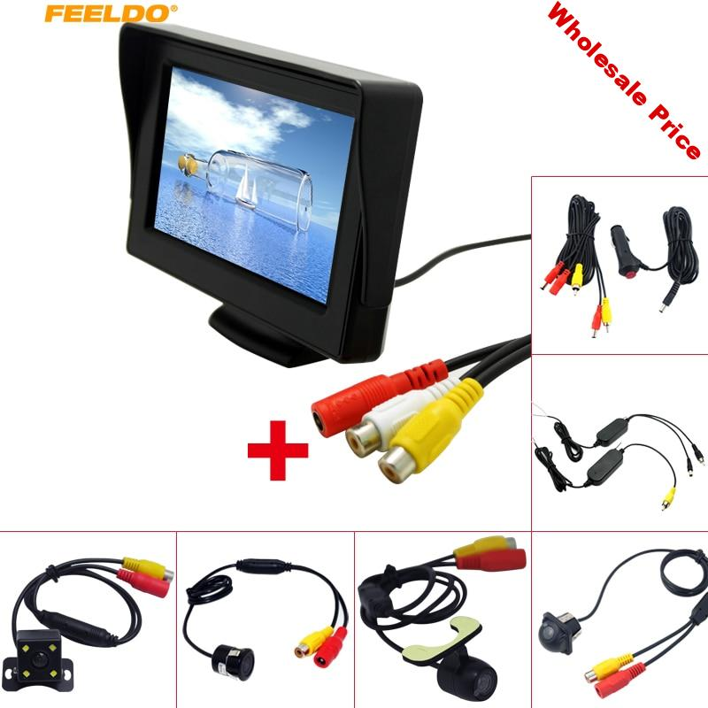 """FEELDO 4.3"""" TFT LCD Stand-alone Monitor With Rear View Parking Backup Camera RCA Video System 2.4G Wireless & Cigarette Lighter"""