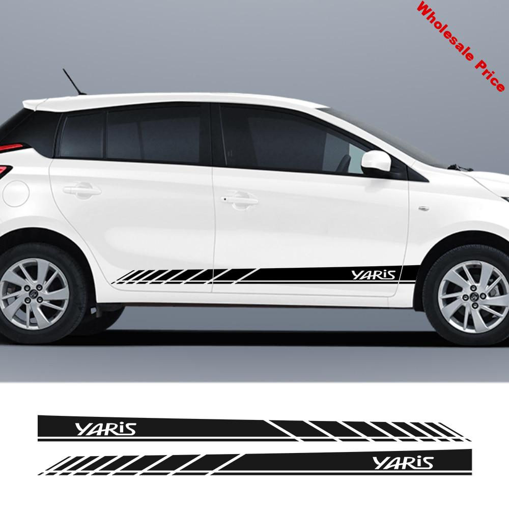 For Toyota Yaris Racing Lattices Stripes Car Door Side Skirt DIY Stickers Sport Styling Auto Body Vinyl Decals Car Accessories
