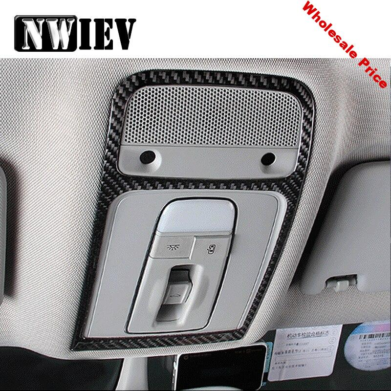 NWIEV Automobile Car Styling 1pc Trim Stickers For Audi A3 8V 2014-2016 Carbon Fiber Roof Reading Lamp Panel Frame Accessories
