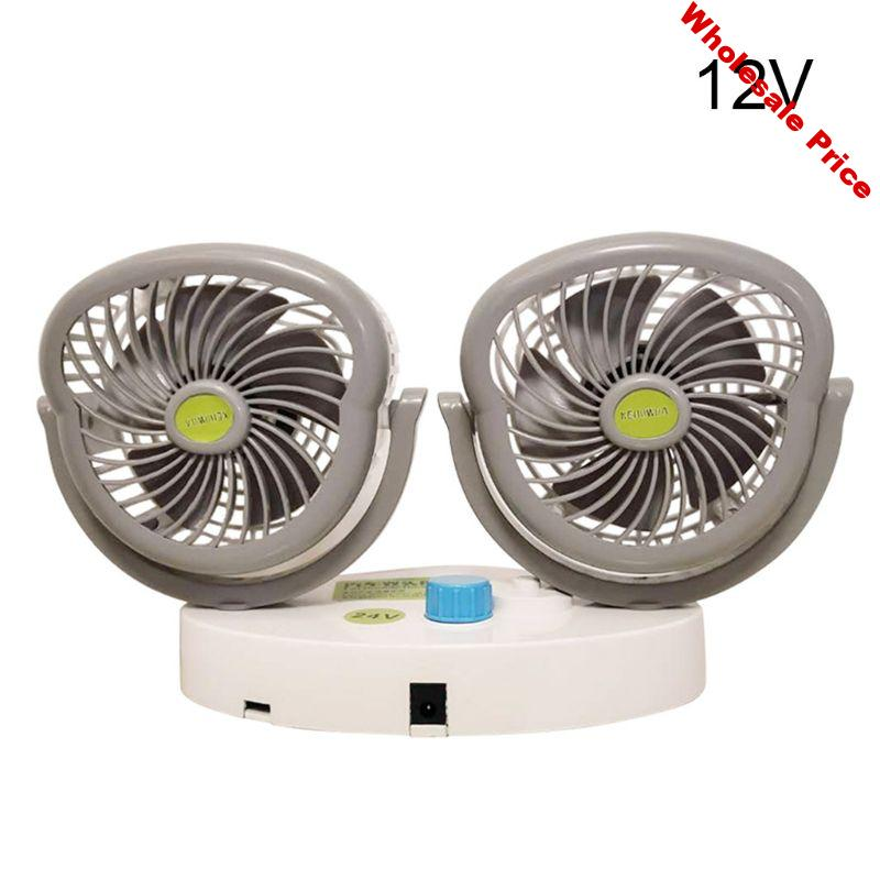 Double-headed High-wind Cooling Electric Car Fan 12V/24V Auto Powerful Rotatable Multipurpose Premium Quality Automobile