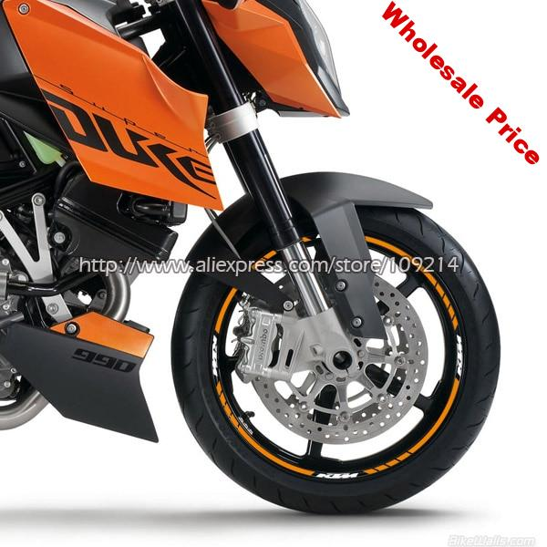 For KTM Duke 200 390 690 790 990 1290 RC8 RC390 motorcycle wheel rim Sticker Decals Waterproof Suitable for 17-inch tires