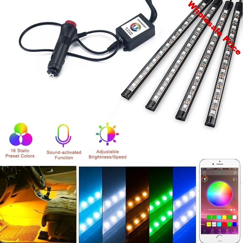 4x Car Styling RGB LED Strip Light Decorative Atmosphere Lamps For Toyota Camry CHR Auris Hilux Prius Celica Ipsum Verso Wish