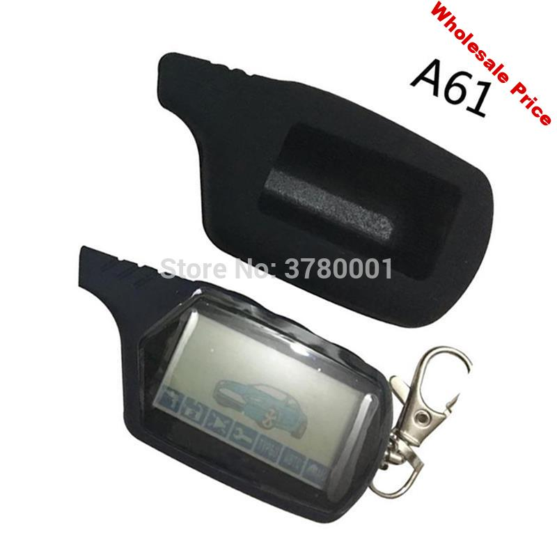 2-way A61 LCD Remote Control Key Fob + Silicone Cover case for Russian StarLine A61 two way car alarm Anti-theft System