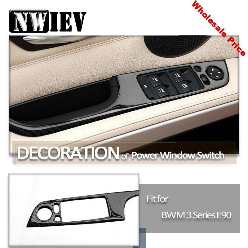 NWIEV Car 3D Stickers power Carbon Fiber Door Lifter Handle Switch Button Car Styling For BMW E90 BMW 3 Series E92 Accessories