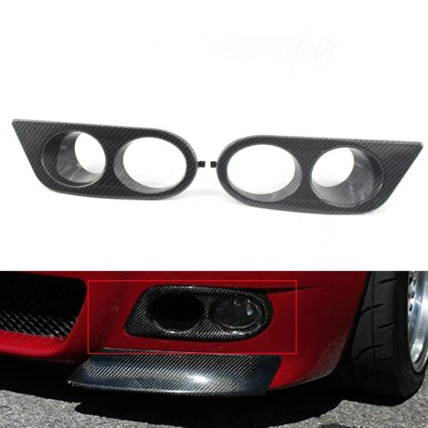 Carbon Fiber Style  Front Bumper Fog Light Lamp Frame Cover Shade Grill Trim for 2001-2006 2002 2003 2004 2005 BMW E46 M3