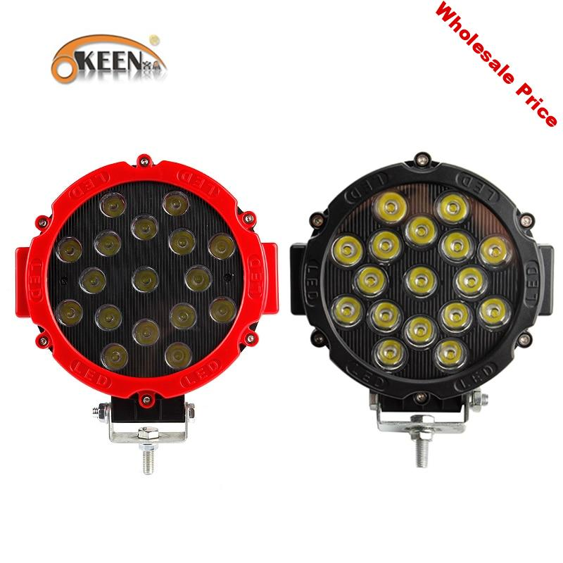 """OKEEN 7"""" off road led light bar 51W LED Work Lights Spot/Flood 2.2in thinkness good cooling surface for Offroad 4WD Tractor"""