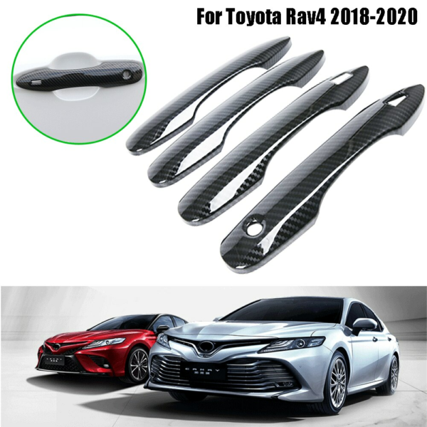 For Toyota Camry 2018 2019 Car Accessories Carbon Fiber Style Door Handle Cover Overlay Trims 4PCS