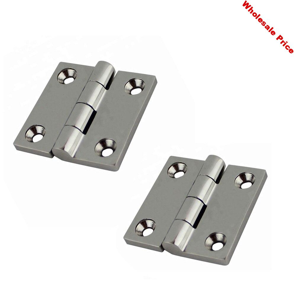 2PCS 316 Stainless Steel Butt Hinge With 4 Holes 38mm 50mm Mirror Polish Heavy Duty Marine Boat Hardware Hinges