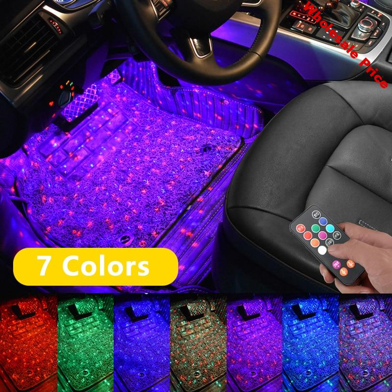 Niscarda Car LED Starry Foot Light USB Atmosphere Ambient DJ Mixed Colorful Music Sound Voice Control Laser Lamp