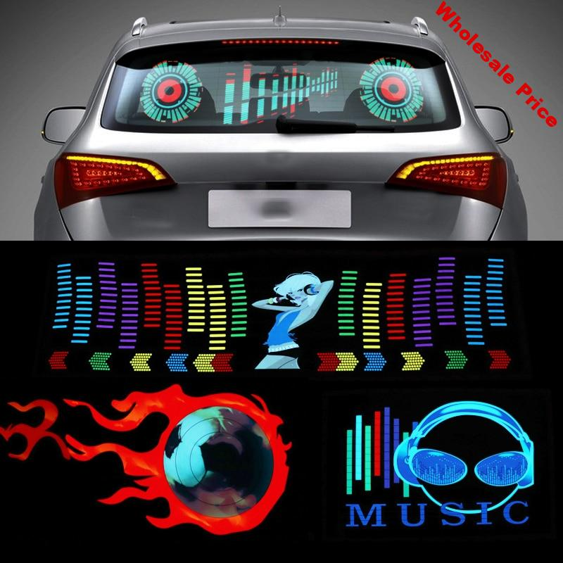90x25 50x30 Car Windshield LED Sound Activated Equalizer Neon EL Light Music Rhythm Flash Lamp Sticker Styling With Control Box