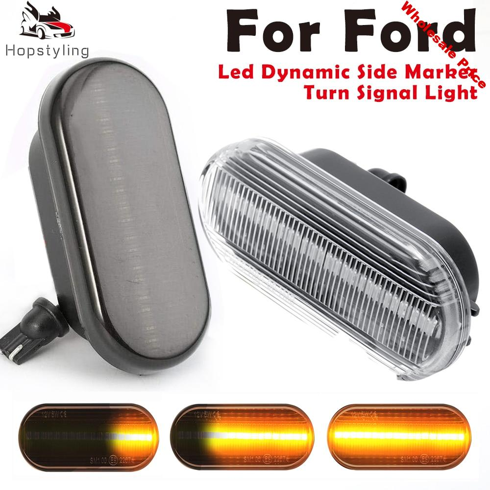 2PCS LED Dynamic Side Marker Light Sequential Flowing Turn Signal Lamp for Focus MK2 C-Max Fusion Fiesta MK6 Galaxy