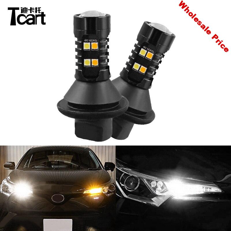Tcart 2pcs Car LED Bulbs DRL Daytime Running Light Turn Signals Auto Daylight Lamps PY21W 1156 For Toyota CHR C-HR 2017 2018