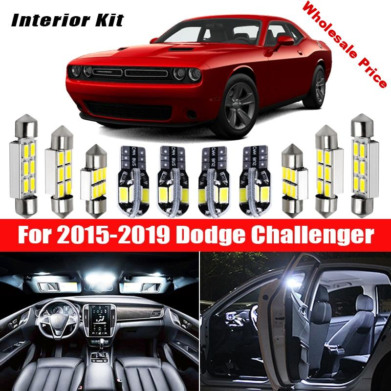 15x Canbus Error Free LED Interior Light Kit Package for 2015-2019 Dodge Challenger Car Accessories Map Dome Trunk License Light