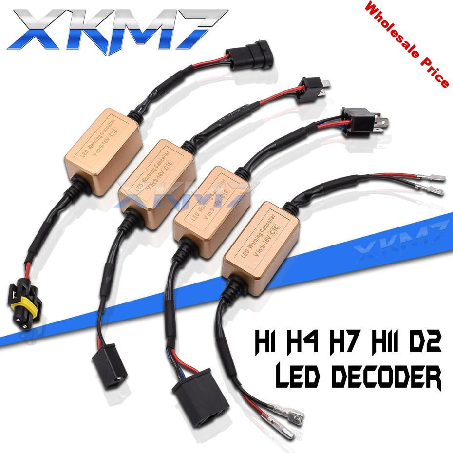 XKM7 LED Canbus Decoder H7 H4 H11 H1 D2 LED Headlight Resistor Tuning Bulbs Canceller Harness Error Free Car Lights Accessories