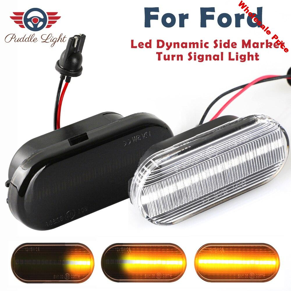 2Pcs Dynamic Turn Signal Light LED Side Fender Marker Sequential Indicator Blinker For Ford Focus MK2 C-Max Fusion Fiesta Galaxy