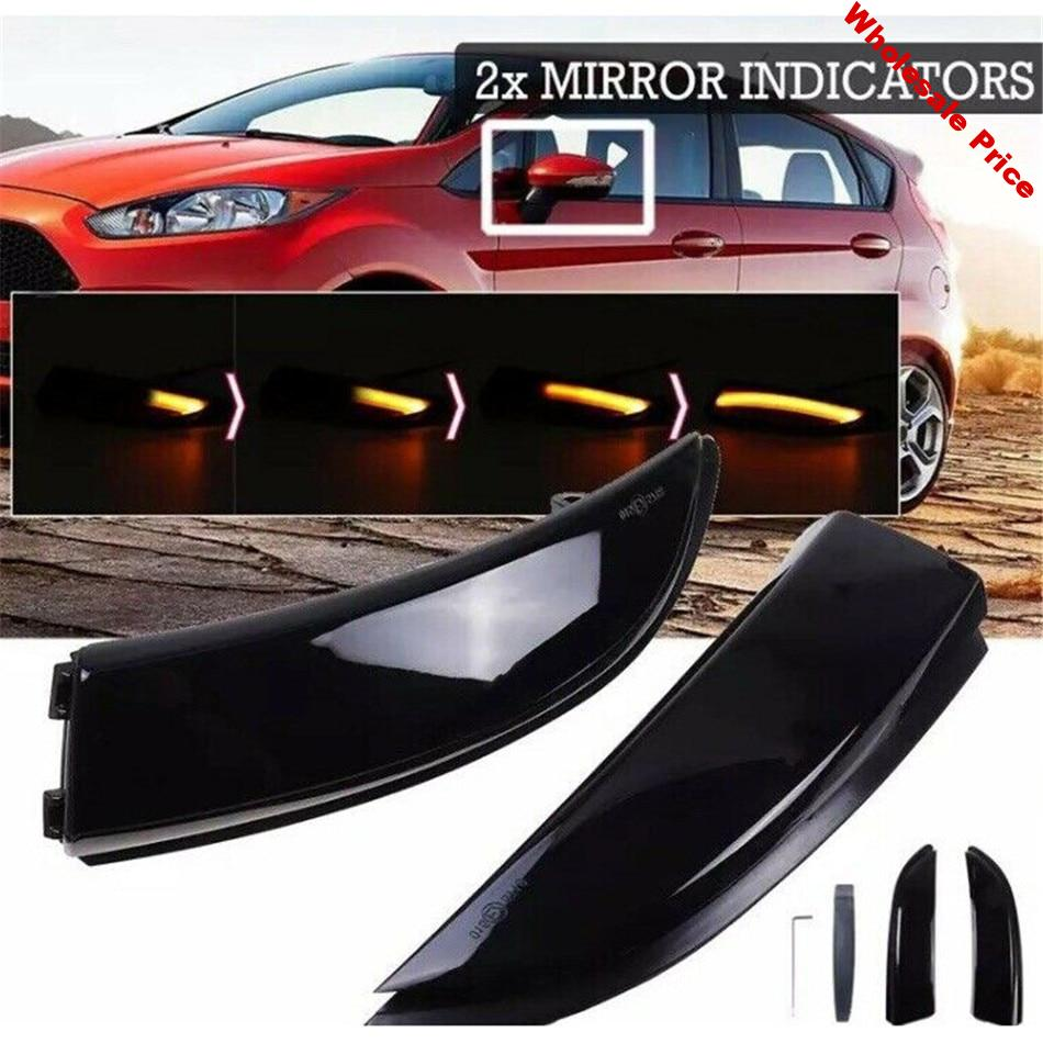 2Pcs Dynamic LED Door Wing Mirror Indicators Flowing Turn Signal Light LED Side Wing Rearview For Ford Fiesta Mk7 / M7.5